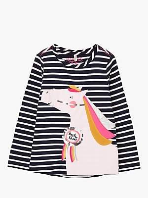 Joules Little Joule Girls' Ava Stripe Horse T-Shirt, Navy