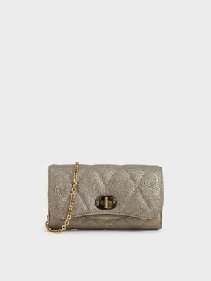 Charles & Keith Quilted Turn-Lock Wallet