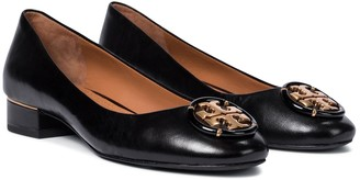 Tory Burch Logo leather ballet flats