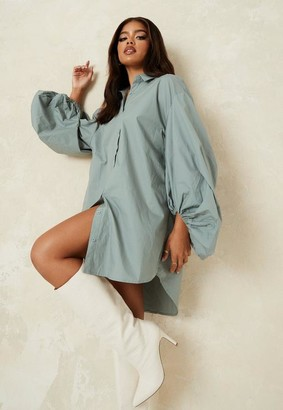 Missguided Sage Puff Ball Sleeve Oversized Shirt Dress