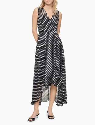 Calvin Klein Dot V-Neck Sleeveless Wrap High-Low Maxi Dress