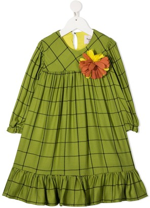 Mariuccia Milano Kids Floral-Detail Check Midi Dress