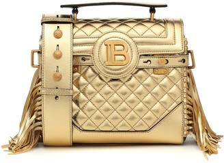 Balmain B-Buzz 25 metallic leather tote