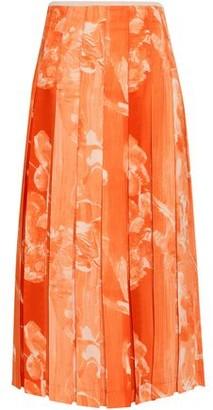 Victoria Beckham Pleated Printed Crepe Midi Skirt