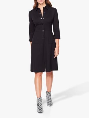 Sosandar Ponte Popper Front Shirt Dress, Black