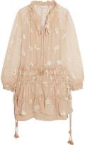 Chloé Embroidered silk-chiffon mini dress