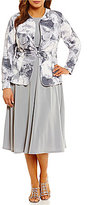 Jessica Howard Plus Floral-Print Ruched-Waist 2-Piece Jacket Dress