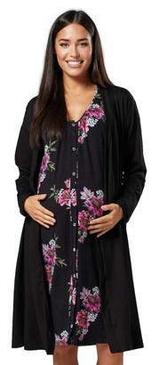 HAPPY MAMA Women's Maternity Hospital Bag Set Delivery Nightie & Robe 1009 (Navy & Navy with Dots UK 12/14 M)