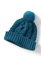 Classic Girls Cable Knit Hat-Mosaic Teal