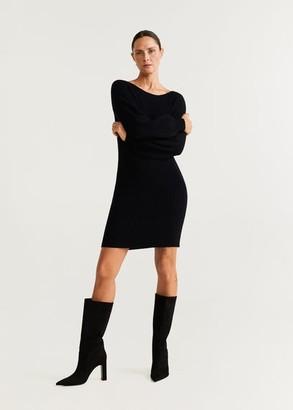 MANGO Ribbed jersey dress black - 4 - Women