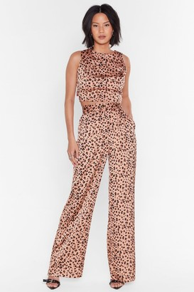 Nasty Gal Womens High-Waisted Leopard Satin Pants - Blush
