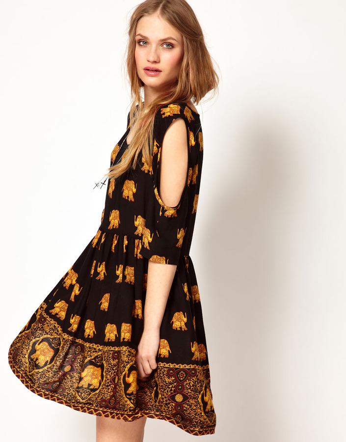 MinkPink Cold Shoulder Dress In Elephant Print
