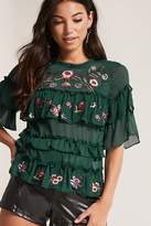 Forever 21 Embroidered Ruffle Chiffon Top