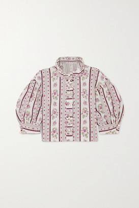 ANNA MASON Agnes Cropped Floral-print Cotton Blouse - Gray