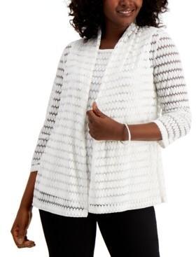 Kasper 3/4-Sleeve Crochet Cardigan