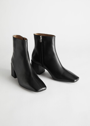And other stories Leather Square Toe Heeled Boots