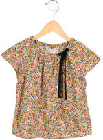 Bonpoint Girls' Floral Print Bow-Adorned Top
