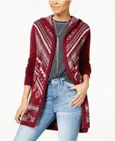 Hippe Rose Juniors' Long Hooded Cardigan Sweater