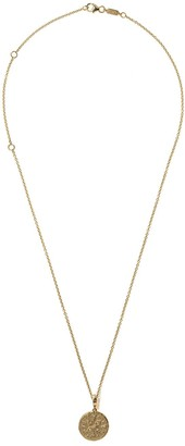 Azlee 18kt Yellow Gold Small Compass Diamond Coin Necklace