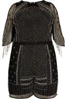 River Island Womens Plus black embellished playsuit