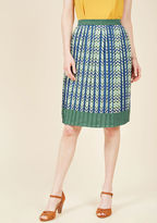 ModCloth Just My Typist Pleated Skirt in Sea in L