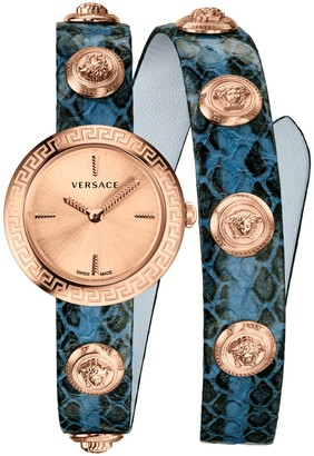 Versace Women's Medusa Stud Icon Leather Bracelet Strap Watch, 28mm