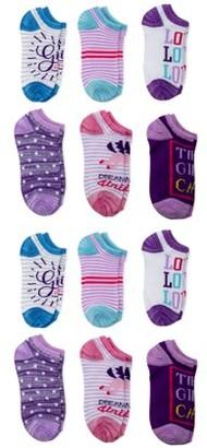 Wonder Nation Girls Socks, 12 Pack No Show Printed, Sizes S-L