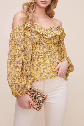 Astr Ruffle Off Shoulder Smocked Floral Top Yellow XS