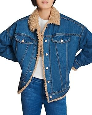 J Brand Drew Faux Sherpa Jean Jacket in Indigo Vienna