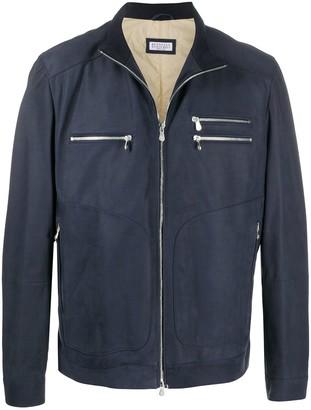 Brunello Cucinelli Zip-Up Leather Jacket