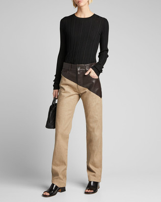 Bottega Veneta Denim Pants with Asymmetric Leather Waist