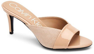 Calvin Klein Women's Sandals DESERT - Desert Sand Laron Patent Leather Slide - Women