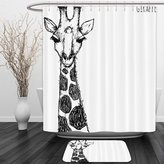Vipsung Shower Curtain And Ground MatHouse Decor Cute Graphic of Safari Giraffe with His Tall Neck and Spots West African Wild Character Decor Grey WhiteShower Curtain Set with Bath Mats Rugs