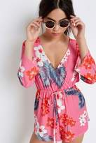 Girls On Film Pink Tropical Playsuit