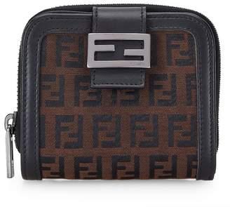 Fendi Black Zucchino Canvas Compact Wallet