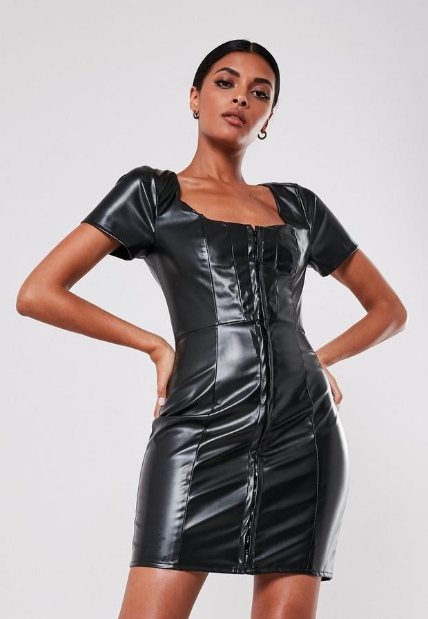 Missguided Black Faux Leather Hook And Eye Mini Dress
