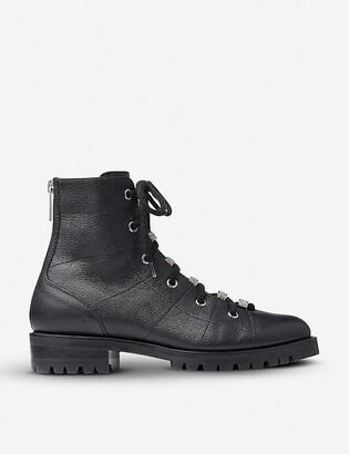 Jimmy Choo Bren grained-leather biker boots