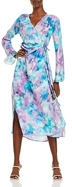 ART DEALER Deborah Printed Silk Midi Wrap Dress