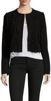 Leather Fringe Collarless Jacket