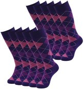 SUTTOS Mens Adult Casual Crazy Fun Purple Argyle Dobby Design Groomsmen Wedding Mid Calf Long Tube Crew Dress Socks,10 Pairs