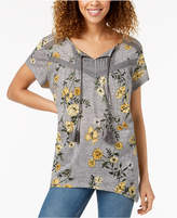 Style&Co. Style & Co Printed Handkerchief Peasant Top, Created for Macy's