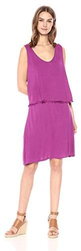 Three Dots Women's Vintage Jersey 2-fer Short Loose Dress