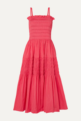 Molly Goddard Tiered Shirred Taffeta Midi Dress - Pink