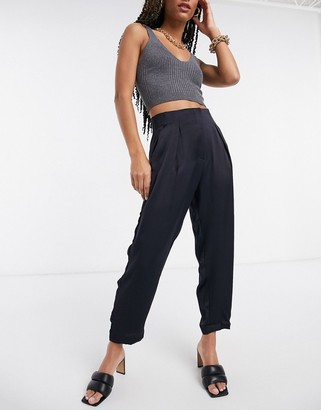 Closet London cropped tailored trousers in navy