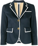 Thom Browne piped trim blazer - women - Silk/Cotton - 42