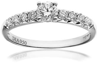 Naava Women's 18 ct White Gold Shoulder Set Engagement Ring, IJ/I Certified Diamonds, Round Brilliant, 0.50ct Size K