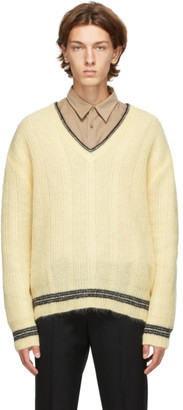 Solid Homme Yellow Mohair V-Neck Sweater