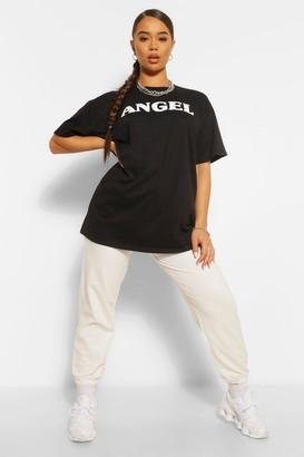boohoo Bandana Print 'Angel' Slogan Oversized T-Shirt
