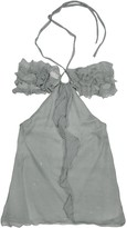 Hafize Ozbudak Gray Ruched Front Silk Crepe Halter Top