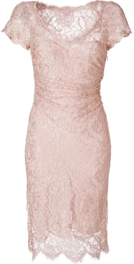 Emilio Pucci Blush Draped Lace Overlay Dress